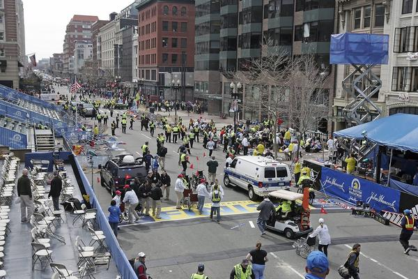 Explosions at the Boston Marathon killed three people and left dozens wounded.