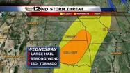 "<span style=""font-size: small;""><strong>A powerful storm system will plow through Kansas</strong> by Wednesday afternoon traveling along a stalled front and bring severe storms, locally heavy rain and even snow to our region.</span>"