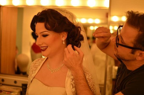 "Zachera Wollenberg prepares to go on stage as Fanny Brice in the Michigan State University production of ""Funny Girl."""