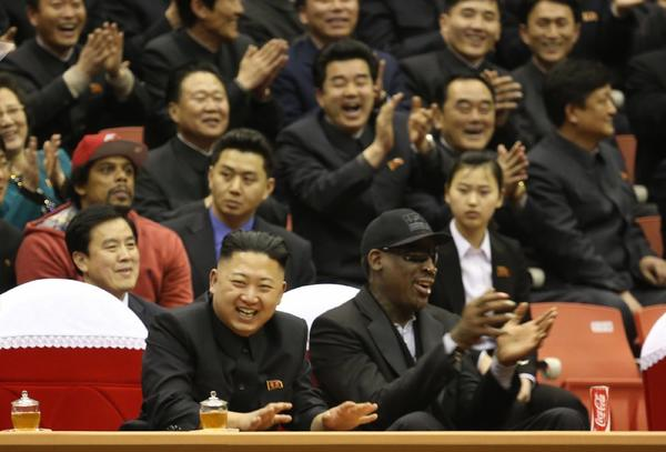 Dennis Rodman meets with Kim Jong Un in February.