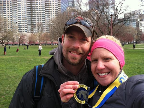 Sara and Dan Pardee, both of Charlevoix, take a picture in Boston after Sarah finished the Boston Marathon just before bombs exploded at the finish line.