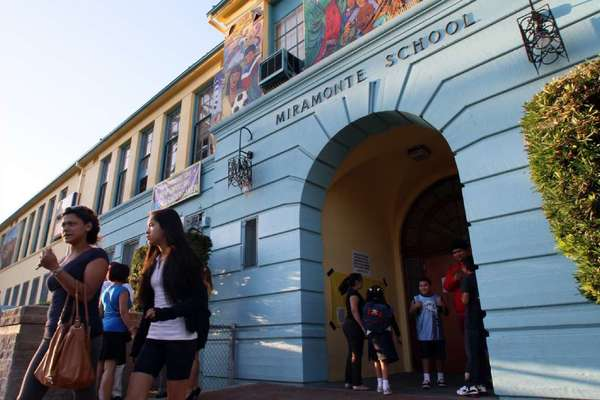 Students arrive at Miramonte Elementary School in August.