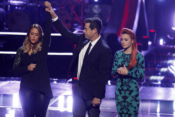 "L-R: Jess Kellner, Carson Daly, Taylor Beckham on Monday's ""The Voice."""