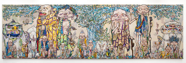 "Takashi Murakami's ""69 Arhats Beneath the Bodhi Tree,"" 2013, acrylic, gold and platinum leaf on canvas mounted on board, 118 1/8 by 393 11/16 inches."
