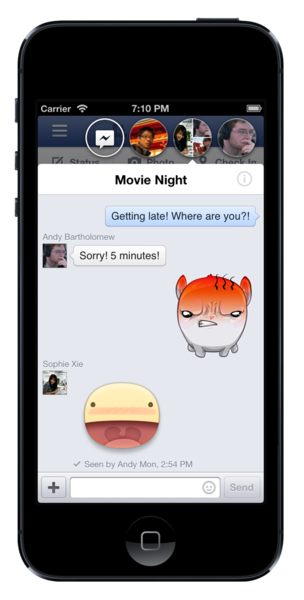 "A Facebook app update set to roll out to iPhone and iPad users Tuesday will enable a new ""stickers"" feature for private message conversations."