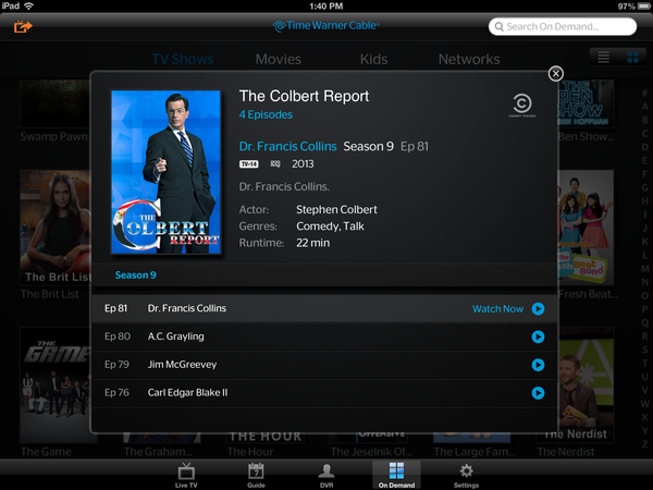 Time Warner Cable customers can take TV outside of the home via Apple devices.