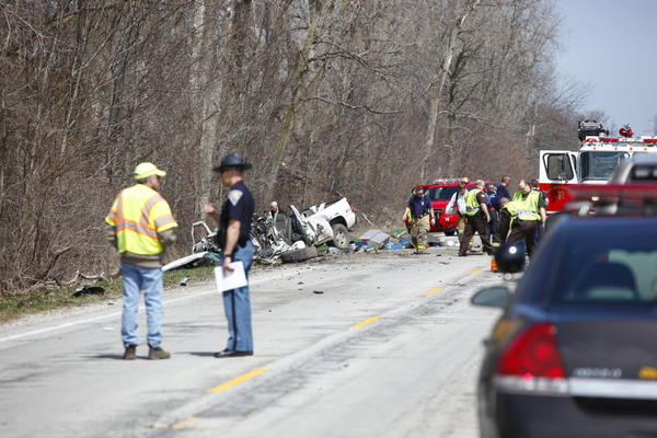 South Bend Tribune/SANTIAGO FLORES Emergency personnel responded to a two-vehicle accident on Indiana 331 south of Roosevelt Road in St. Joseph County.