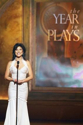 "Personality <a class=""taxInlineTagLink"" id=""PECLB000957"" title=""Julie Chen"" href=""/topic/entertainment/julie-chen-PECLB000957.topic"">Julie Chen</a> speaks onstage during the Tony Awards."