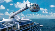 Royal Caribbean opened the curtain on its newest cruise ship, the Quantum of the Seas, and it would be hard to miss its most iconic feature.