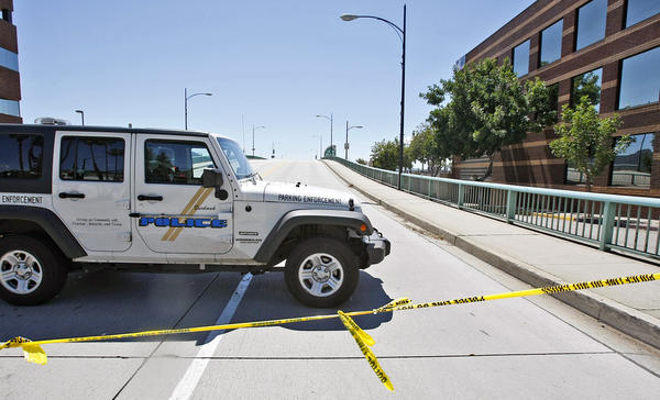 The Olive Avenue bridge in Burbank was closed due to a report of a possible bomb on a Metrolink train. The train stopped at the downtown Burbank Metrolink station on Tuesday, April 16, 2013.