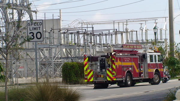 Thousands of homes, businesses and traffic signals had power shut down when a Florida Power and Light substation caught fire in Oakland Park