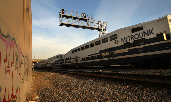 A Metrolink train headed toward Union Station was halted after a possible bomb threat. (file photo)