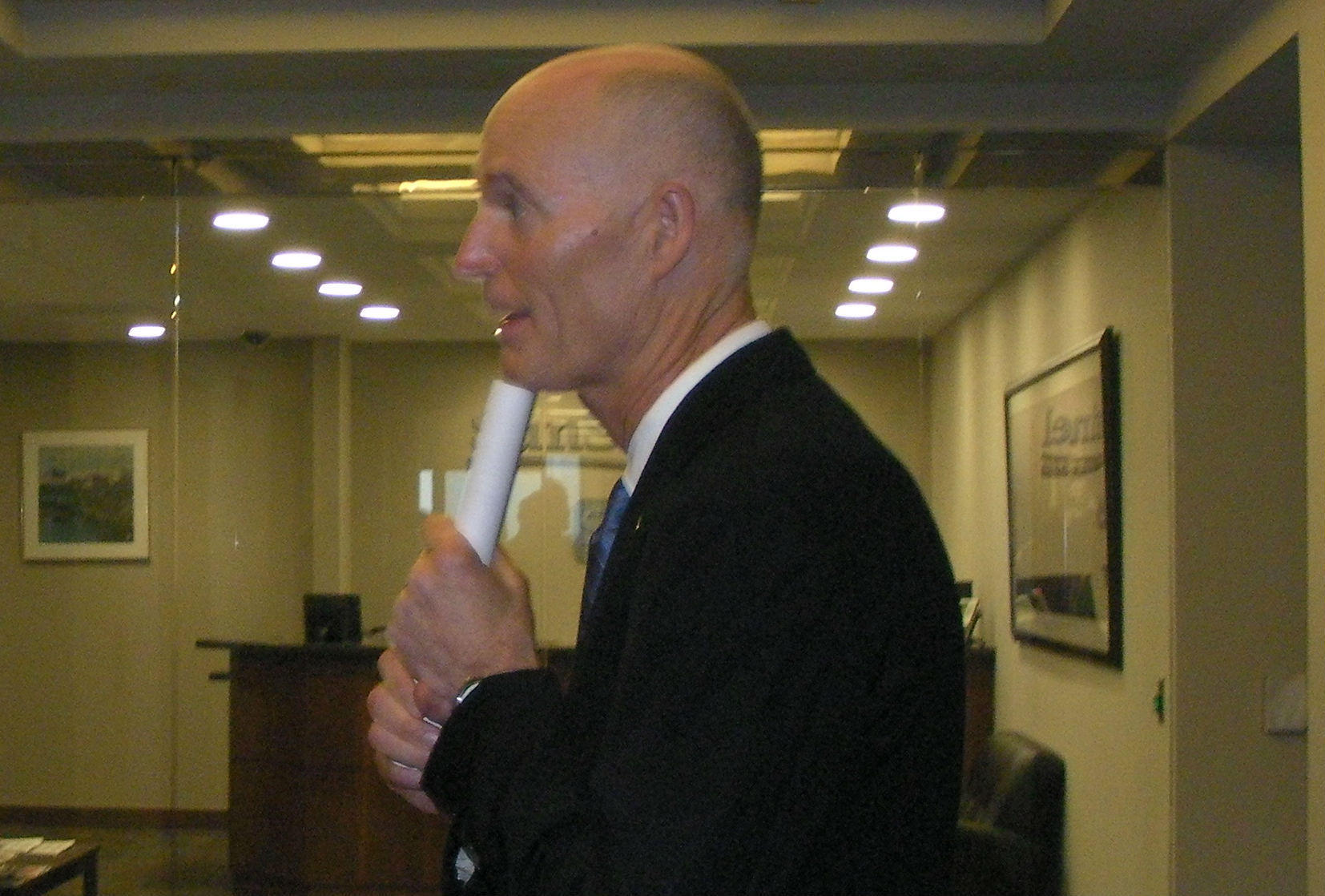 Gov. Rick Scott after he appears at the Sun Sentinel editorial board.