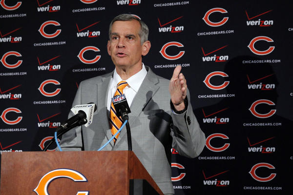 General manager Phil Emery speaks Tuesday during Chicago Bears minicamp in the Walter Payton Center at Halas Hall.
