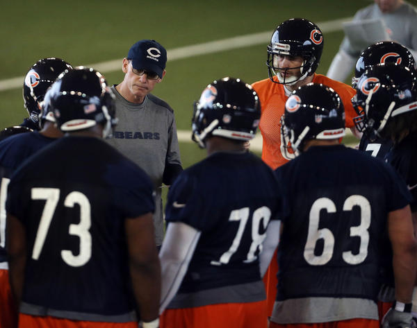 Bears head coach and his offensive unit at Tuesday's mini-camp
