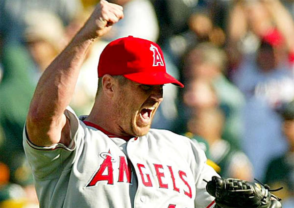 Former Angels pitcher Troy Percival celebrates after defeating the Oakland Athletics back in 2004.