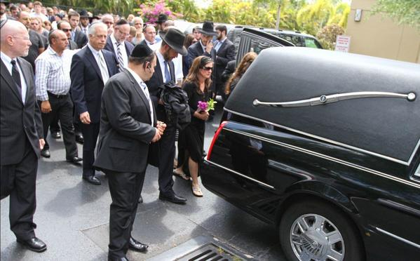 Family and Friends of Shoshana Stern, walk behind the hearse carrying her body after her funeral at the Boca Raton Synagogue. Stern, 12, of West Boca died Sunday after a 2005 Ford Mustang hit her as she crossed West Palmetto Park Road on her skateboard.