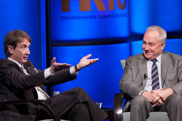 Martin Short, left, in conversation with Lorne Michaels at the Hollywood Radio and Television Society's Comedy on TV panel