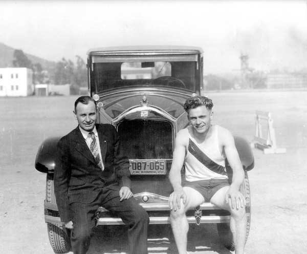 Frank Wykoff, right, was named to the CIF Southern Section's '100 Athletes for 100 Years' list. Here, Wykoff poses for a photo with his coach for the 1928 Olympics, Norm Hayhurst.