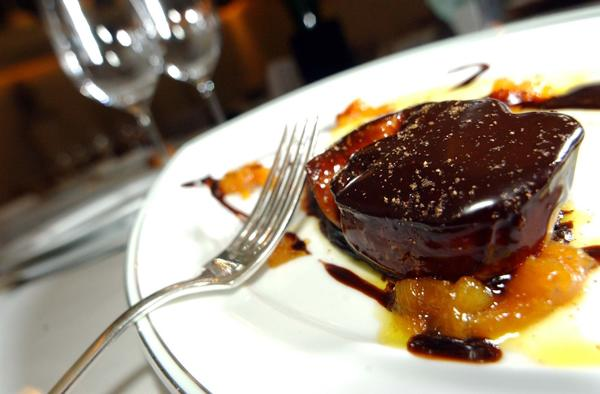 Foie gras with chocolate sauce.