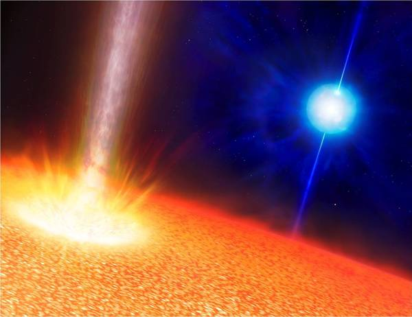 An artist's rendition of a close-up view of a star creating a gamma-ray burst. Scientists think a massive star like this one could have created an ultra-long gamma-ray burst lasting hours.