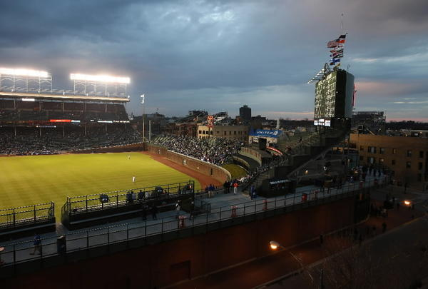 The view of Wrigley Field from a rooftop at 3637 N. Sheffield, in Chicago, on Tuesday, Apr 16, 2013.