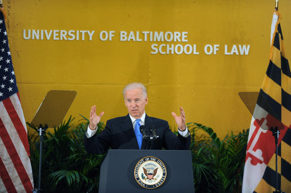Vice President Joe Biden speaks during a preview of the University of Baltimore's new law center.