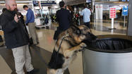 A TSA officer and his K-9 dog make security rounds at O'Hare on Tuesday.