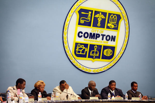 Candidates for Compton mayor appear at a forum earlier this month.