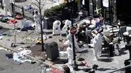 BOSTON — The bombs that tore past the finish line of the Boston Marathon were probably made with simple kitchen pressure cookers packed with metal pellets and nails and hidden in black nylon bags, investigators said Tuesday.