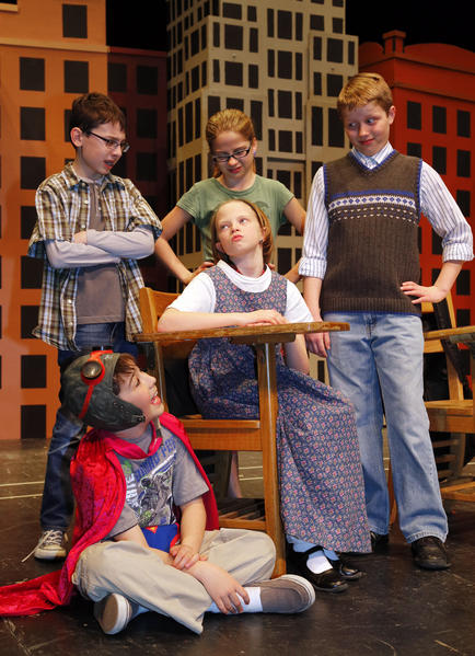 """The children in the Aberdeen Community Theatre production of """"Top Job"""" include from the left standing: Jonah Kost, Rachel Salem and Rawley Moore and seated are Abigail Yates and Michael Garofalo (on the floor). photo by john davis taken 4/12/2013"""