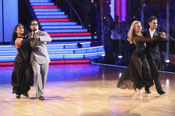 Cheryl Burke and D.L. Hughley -- seen here with, at right, Chelsie Hightower and Sasha Farber -- were stepped out of the competition.