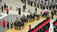 LONDON -- With stately solemnity and military honors, Margaret Thatcher's body was borne through the streets of the British capital Wednesday morning to a funeral service where hundreds of world leaders, colleagues and friends paid their last respects to this country's first and only female prime minister.