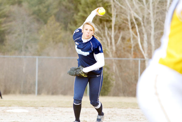 Petoskey senior pitcher Annie Hansen pitches against Cadillac during the opening game of Tuesday's Big North Conference doubleheader at the River Road Athletic Complex. The Vikings swept the Northmen, 6-4 and 12-4.