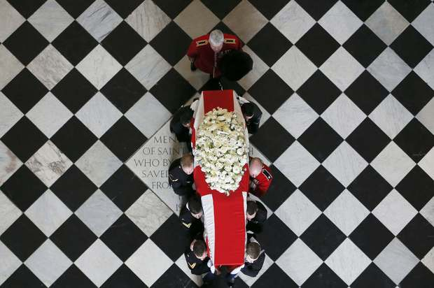 The coffin of former British Prime Minister Margaret Thatcher is carried by the Bearer Party following her funeral service at St. Paul's Cathedral.