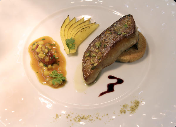 Two Orange County chefs are still serving foie gras at their upscale restaurants -- at Arc in Costa Mesa and at Broadway by Amar Santana in Laguna Beach.