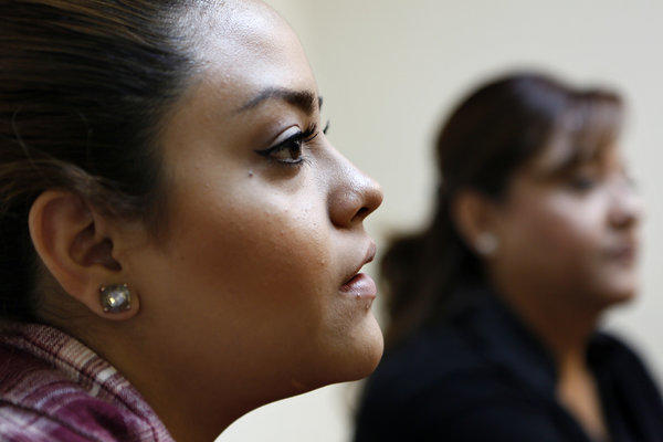 Saira Barajas, 21, left, with her mother, Maria Galvan, 43, at the Coalition for Humane Immigrant Rights of Los Angeles to discuss the impact of immigration reforms on immigrant families.