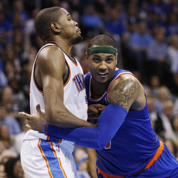 Knicks forward Carmelo Anthony (right) battles for position against Thunder forward Kevin Durant during a recent game.