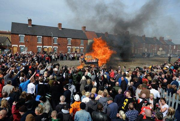 An effigy of the late Margaret Thatcher is burned in northern England on Wednesday as the former British prime minister's funeral is being held in London.