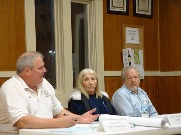 Homer Township Highway Commissioner Mike De Vivo, Homer Township Assessor Karen Szynkowski and Attorney Gerald Sramek discuss festival rules at the Homer Township board meeting on April 8.