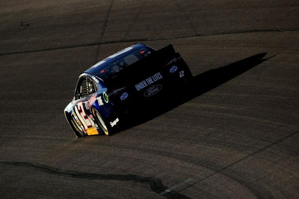 Brad Keselowski races during the NASCAR Sprint Cup Series NRA 500 at Texas Motor Speedway on April 13.