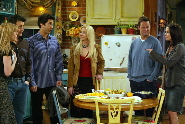 "The cast of NBC's ""Friends"" in a scene from the series finale. The story ends there."