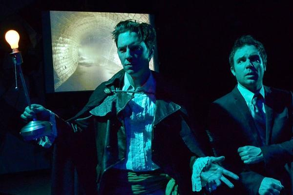 "Jonathan Kells Phillips, left, and Michael Holmes in ""Neverwhere"" at Sacred Fools."