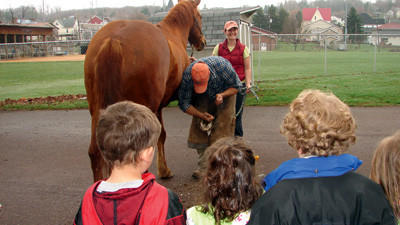 Dr. Rachel Wiley, a veterinarian with Casselman Veterinary Service, and her husband Sean Losee, a farrier, brought their horse, Truman, to the pre-kindergarten at Salisbury Elementary School on Wednesday.