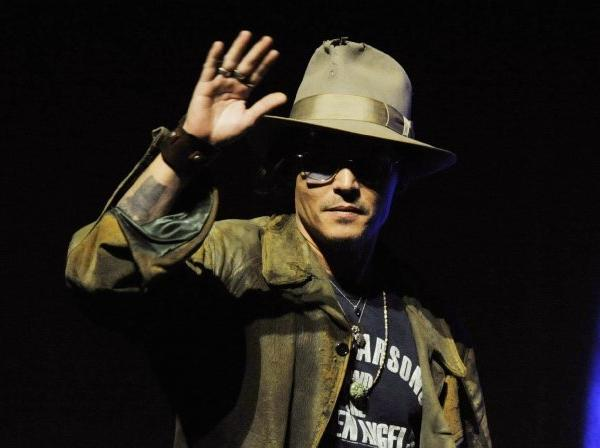 "Johnny Depp arrives at CinemaCon to promote ""The Lone Ranger."""
