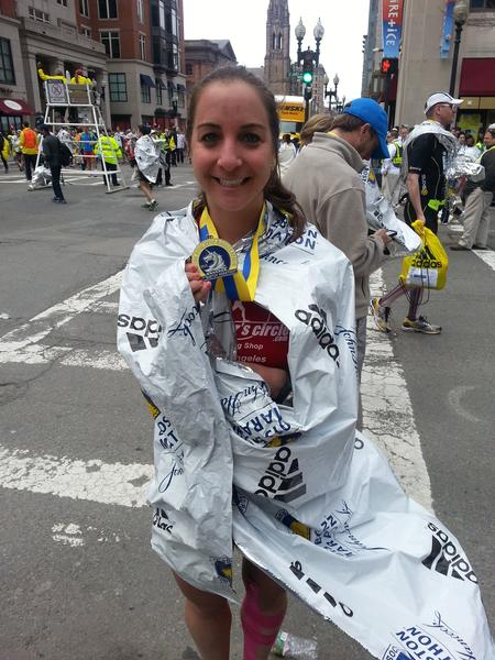 La Cañada Flintridge local Mary Boosalis, 26, finished the Boston Marathon in three hours and 24 minutes, roughly 45 minutes before the first of two explosion hit near the Boylston Street finish line.