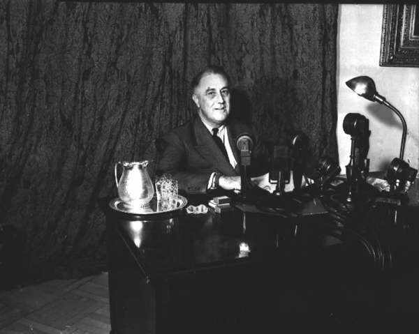 "President Franklin D. Roosevelt, seen here in 1937 during a ""fireside chat,"" spoke privately about his ambivalence regarding the rescue of European Jews."