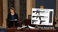 "WASHINGTON — In a final appeal to her colleagues to reinstate an assault weapons ban, Sen. Dianne Feinstein (D-Calif.) displayed on the Senate floor Wednesday a New York Daily News front page from the day after her ban was pulled from a broader gun control bill: It shows the photos of the 20 first-graders shot to death at Sandy Hook Elementary School with the headline: ""Shame on U.S."""