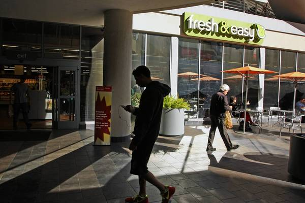 Fresh & Easy markets are pulling out of the U.S. Above, a store on Hollywood Boulevard.