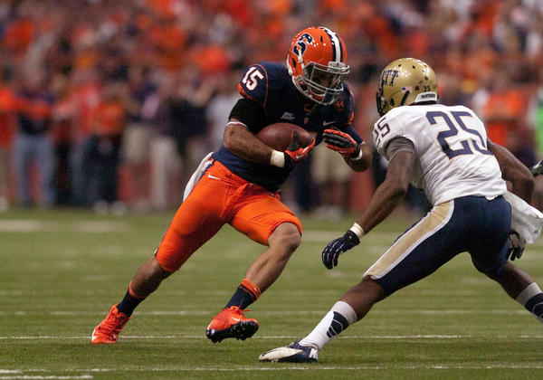 Syracuse receiver Alec Lemon tries to get by Pittsburgh defensive back Jason Hendricks in October.